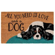 "Liora Manne Natura Love And A Dog Outdoor Mat Natural 18""X30"""