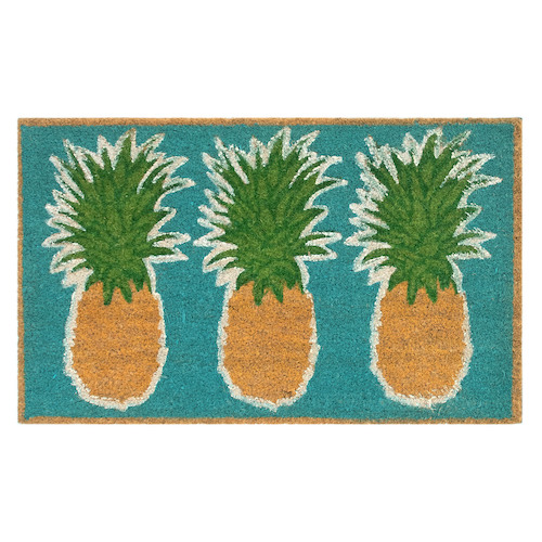 "Liora Manne Natura Pineapples Outdoor Mat Aqua 24""X36"""
