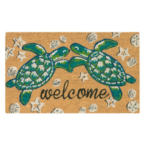 "Liora Manne Natura Seaturtle Welcome Outdoor Mat Natural 24""X36"""