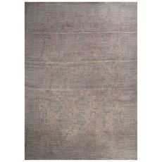 Classic Damask Pattern Gray/Blue Polypropylene Area Rug (9X12)