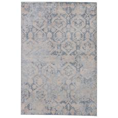 Modern Vintage Look Pattern Gray/White Polypropylene Area Rug ( 7.6X9.6)