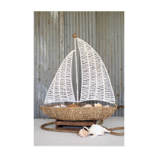 Natural and Whitewashed Seagrass Sailboat