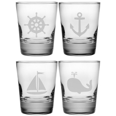 Nautical Icons Etched Dof Glass Set
