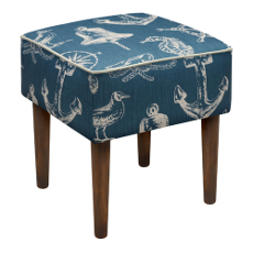 Nautical Linen-Upholstered Stool
