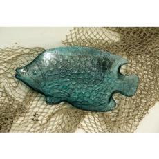 Blue Glass Decorative Fish Plate