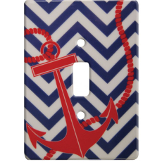 Nautical Chevron Ceramic Single Switch Wall Plate