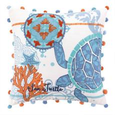 North Shore Sea Turtle Embroidered Pillow