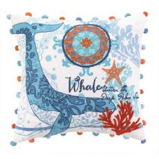 North Shore Whale Embroidered Pillow