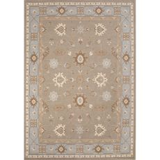 Classic Oriental Pattern Taupe/Blue Wool Area Rug (7.10X9.10)