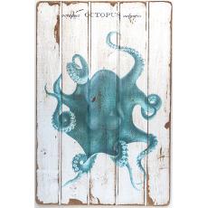 Octopus Teal Floorboard Art