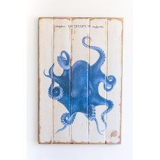 Octopus Blue Floorboard Art