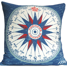 Mariner'S Compass Nautical Pillow