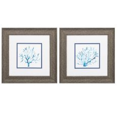 Azure Seafan Set of 2 Framed Beach Wall Art