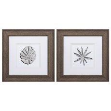 Cut Paper Palms Set of 2 Framed Beach Wall Art