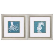 Coastal Menagerie Set of 2 Framed Beach Wall Art