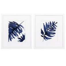 Blue Ferns Set of 2 Framed Beach Wall Art