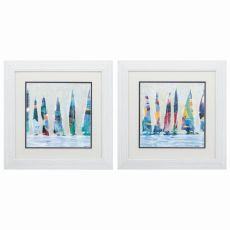 Dozen Colorful Boats Set of 2 Framed Beach Wall Art