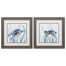Turtle In Grass Set of 2 Framed Beach Wall Art