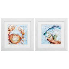 Crab Fish Set of 2 Framed Beach Wall Art