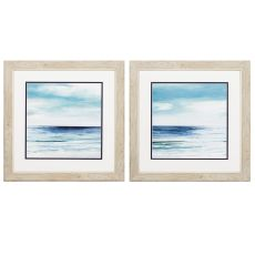 Blue Silver Shore Set of 2 Framed Beach Wall Art
