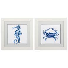 Sea Horse Crab Set of 2 Framed Beach Wall Art