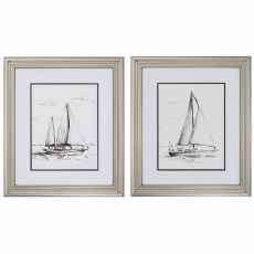 Coastal Boat Sketch Set of 2 Framed Beach Wall Art