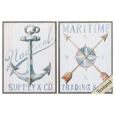 Anchor Compass Set of 2 Framed Beach Wall Art
