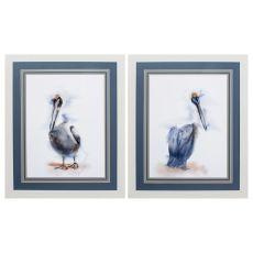 Pelican Set of 2 Framed Beach Wall Art