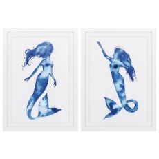 Blue Sirena Set of 2 Framed Beach Wall Art