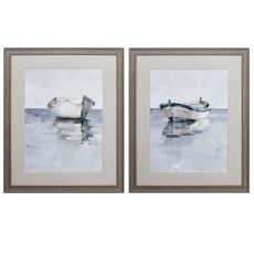 Boat On The Horizon Set of 2 Framed Beach Wall Art