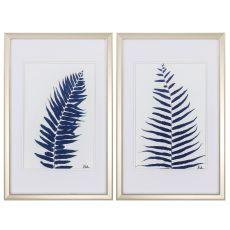 Indigo Ferns Set of 2 Framed Beach Wall Art