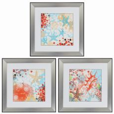 Exotic Sea Life Set of 3 Framed Beach Wall Art
