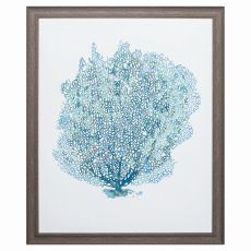 Aqua Coral On White Ii Framed Beach Wall Art