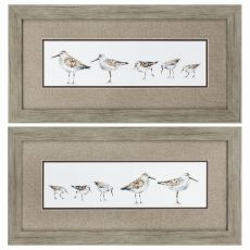Pebbles & Sandpipers Set of 2 Framed Beach Wall Art