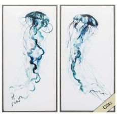 Electric Tangle Set of 2 Framed Beach Wall Art