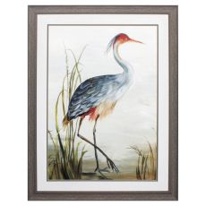 Gray Heron Framed Beach Wall Art