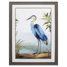 Blue Heron Framed Beach Wall Art