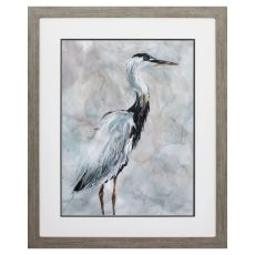 Crane At Dusk I Framed Beach Wall Art