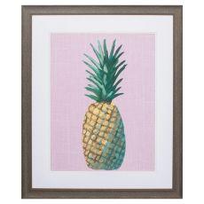 Pineapple On Pink Framed Beach Wall Art