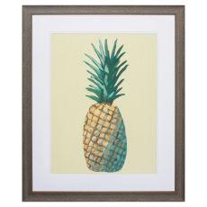 Pineapple On Yellow Framed Beach Wall Art