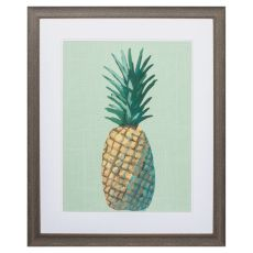 Pineapple On Green Framed Beach Wall Art