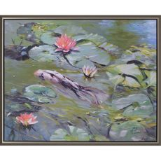 Koi and Lilies Canvas Oils