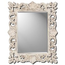 Aged White Shell Decorative Mirror