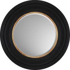 Round Black with Gold Decorative Mirror