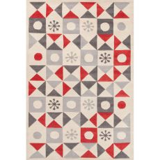 Youth Tribal Pattern Ivory/Red Wool Area Rug (8X10)