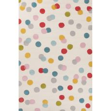 Youth Dots Pattern Ivory/Blue Wool Area Rug (8X10)