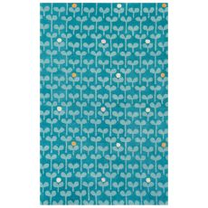 Youth Floral & Leaves Pattern Blue Wool Area Rug (8X10)