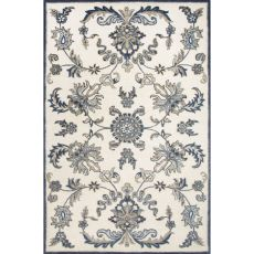 Classic Oriental Pattern White/Blue Wool Area Rug (8X11)