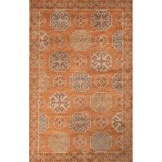 Contemporary Tribal Pattern Orange/Blue Wool Area Rug (9X13)