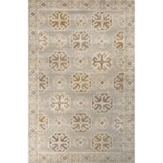 Contemporary Tribal Pattern Gray/Ivory Wool Area Rug (9X13)